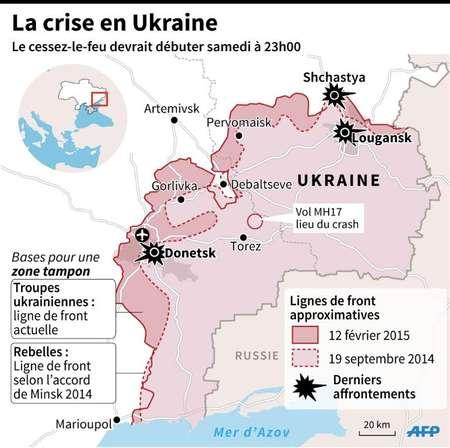 Carte de l'est de l'Ukraine, montrant les dernières violences et la zone tampon approximative  ( L. Saubadu / J. Storey (AFP) )