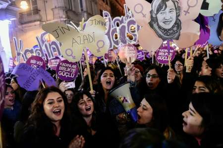 Among countries which saw rallies against gender violence was Turkey, where one pressure group put at 328 deaths of women at the hands of their partners last year  ( YASIN AKGUL (AFP) )