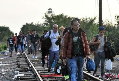 Migrants et réfugiés marchent le 15 septembre 2015 le long de la voie ferrée  près de Horgos en Serbie ( ELVIS BARUKCIC (AFP) )
