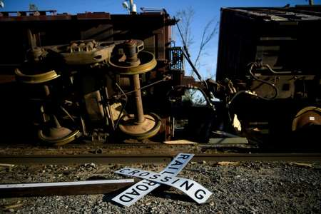 A train is tipped over by storm winds in Panama City, Florida, which was among the hardest hit by Hurricane Michael ( Brendan Smialowski (AFP) )
