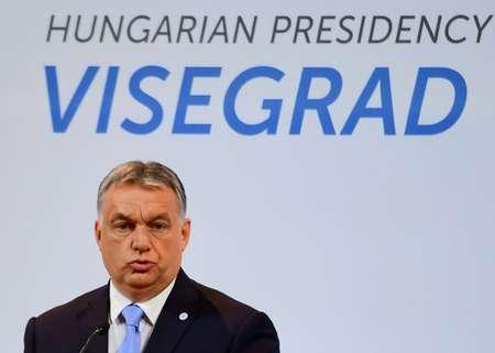 رئيس الوزراء المجري فيكتور اوربان في مؤتمر صحافي في بودابست في 04 تموز/يوليو 2017 ( اتيلا كيسنيبيديك (اف ب) )