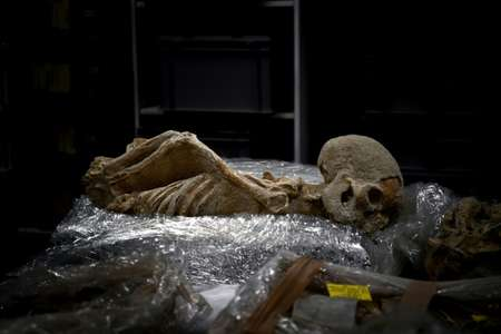 One of the skeletons was found with his arms twisted behind his back and may have been a