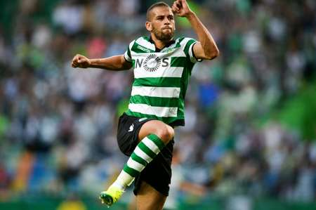 Sporting's Algerian forward Islam Slimani, who agreed a five-year contract, was allowed to leave Algeria's training camp to complete a move that surpassed the £16 million Leicester paid for Nigerian forward Ahmed Musa in July ( Patricia De Melo Moreira (AFP/File) )