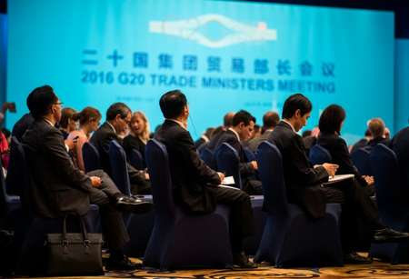 Participants attend the opening ceremony of the G20 Trade Ministers Meeting in Shanghai ( Johannes Eisele (AFP) )
