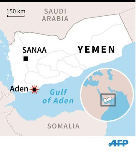 Map of Yemen locating Aden, where rebel fire on a residential district killed at least 20 civilians Wednesday ( AFP )