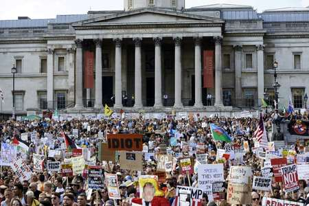 A major anti-Trump rally is planned in Edinburgh on Saturday after a mass protest in London Friday that organisers said drew more than 250,000 people ( Niklas HALLEN (AFP) )