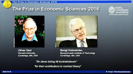 Les lauréats du prix Nobel de l'économie 2016, Oliver Hart et Bengt Holmstrom, à Stockholm le 10 octobre 2016 ( JONATHAN NACKSTRAND (AFP) )