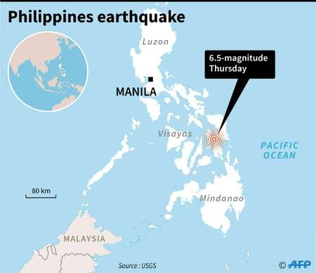 Strong, shallow quake shakes central Philippines