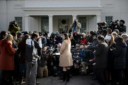 Press Secretary Sarah Sanders speaks to reporters outside the White House shortly after President Donald Trump met a North Korean general, Kim Yong Chol ( Brendan Smialowski (AFP) )