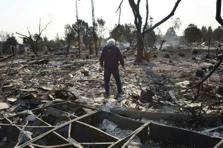 Un habitant de Santa Rosa, Phil Rush, découvre les décombres calcinés de sa maison détruite par l'un des incendies qui ravagent la Californie depuis dimanche ( Robyn Beck (AFP) )