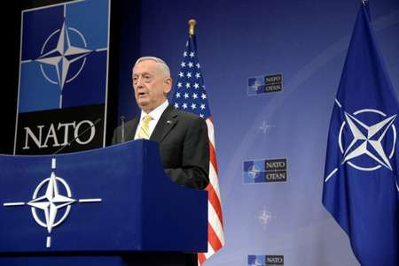 US Secretary of Defence James Mattis addresses a press conference following the NATO Defence Ministers' meeting at the NATO headquarters in Brussels, on February 16, 2017 ( THIERRY CHARLIER (AFP) )