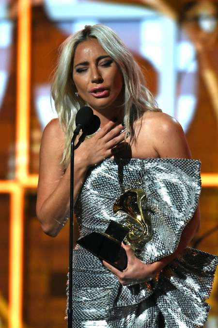 Lady Gaga got emotional as she accepted the Grammy for Best Pop Duo/Group Performance for