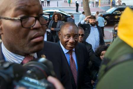 Cyril Ramaphosa (C), South African Deputy president, and newly elected president of the ruling African National Congress (ANC), says he will tackle corruption in the country ( RODGER BOSCH (AFP) )