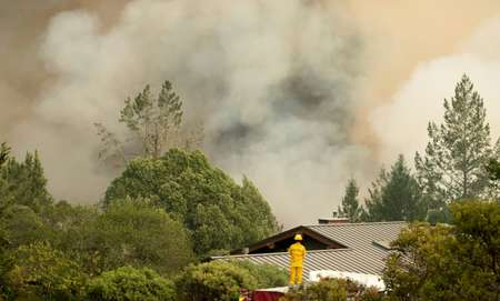 A firefighter watches smoke billowing from a blaze in Sonoma County, California ( JOSH EDELSON (AFP) )