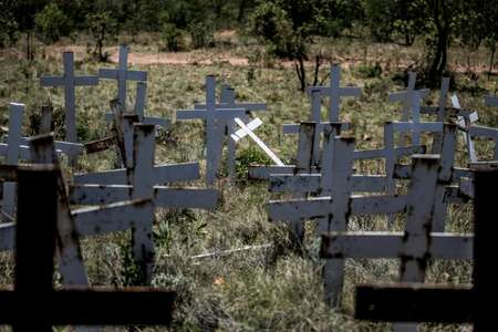 Crosses are planted on a hillside at the White Cross Monument, in Ysterberg, near Langebaan, South Africa, each one marking a white farmer who has been killed in a farm murder   ( GULSHAN KHAN (AFP) )