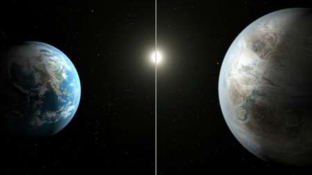 This NASA artist's concept obtained July 23, 2015 compares Earth (L) to the new planet, called Kepler-452b, which is about 60 percent larger in diameter ( T. Pyle (NASA/AFP) )