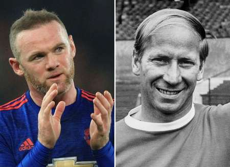 Manchester United's English striker Wayne Rooney (L) on January 21, 2017 and Manchester United's English striker Bobby Charlton (R) in Mexico City on May 25, 1970 ( Oli SCARFF (AFP) )