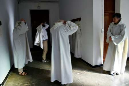Members of the Chemin Neuf Community prepare for prayers at the Tibhirine monastery, about 80 kilometres (50 miles) away from Algiers ( RYAD KRAMDI (AFP) )