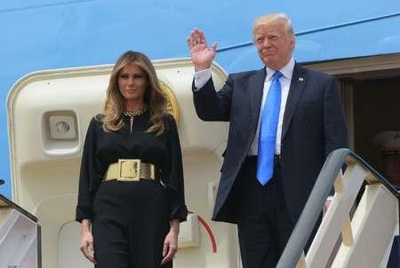 Donald et Melania Trump arrivent à Ryad, le 20 mai 2017 ( MANDEL NGAN (AFP) )