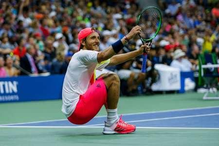 Lucas Pouille of France celebrates defeating Rafael Nadal of Spain at the US Open on September 4, 2016 ( Eduardo Munoz Alvarez (AFP) )
