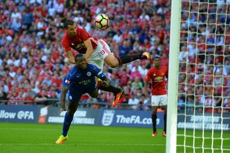 Manchester United's Swedish striker Zlatan Ibrahimovic  made his first official United appearance at Wembley in August's Community Shield against Leicester City, a towering late header giving him the 29th trophy of his career ( GLYN KIRK                            (AFP/File) )