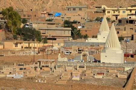 Rebuilt Yazidi temples in the town of Bashiqa northeast of Mosul on January 12, 2018 ( Ahmad MUWAFAQ (AFP) )