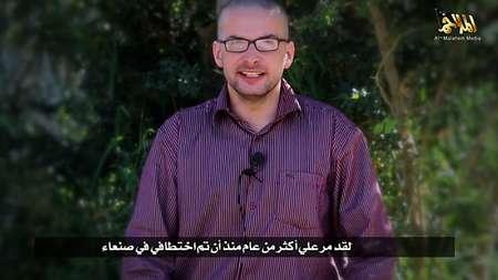Photo tirée d'une vidéo de propagande transmise par al-Malahem Media le 4 décembre 2013 montrant l'otage américain Luke Somers ( - (Al-Malahem media/AFP) )