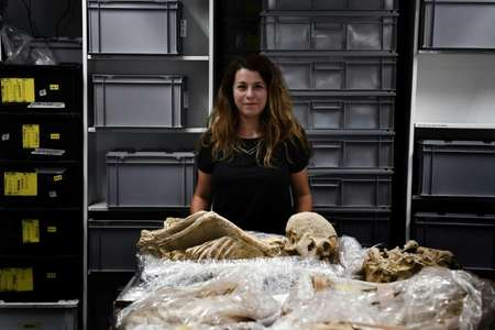 Eleanna Prevedorou is a bioarchaeological researcher on the project, which will see high-tech methods deployed akin to those seen on TV shows such as 'CSI' to examine the skeletons. ( AFP )