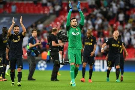 Les joueurs de Monaco fêtent leur victoire sur Tottenham à Wembley, le 14 septembre 2016  ( Ben STANSALL (AFP) )