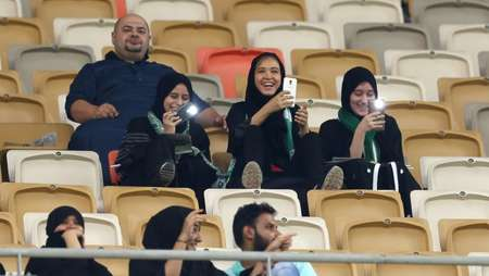 So happy to be here: Saudi supporters of Al-Ahli await the kick-off against Al-Batin in Jeddah on January 12, 2018 ( STRINGER (AFP) )
