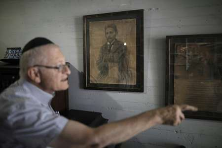 The headquarters of the project includes furniture and books from Eliezer Ben-Yehuda, seen as the father of the effort to revive Hebrew ( AFP )