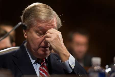 Republican Senator Lindsey Graham called for in-depth investigations into communications between Trump aides and Russia prior to the presidential election ( JIM WATSON (AFP/File) )