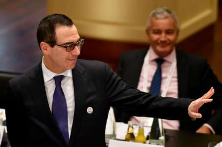 Washington's partners are trying to persuade US Treasury Secretary Steven Mnuchin to hold fast to a long-standing G20 anti-protectionism commitment ( Uwe Anspach (dpa/AFP) )
