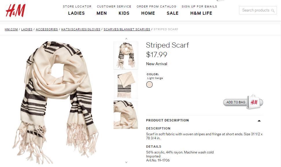 i24NEWS - Polémique autour d une écharpe vendue par H M ressemblant au  chale de prière juif Talit 5143c01f81b