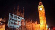 اضاءة صورة محمد الحلبي على مبنى البرلمان البريطاني