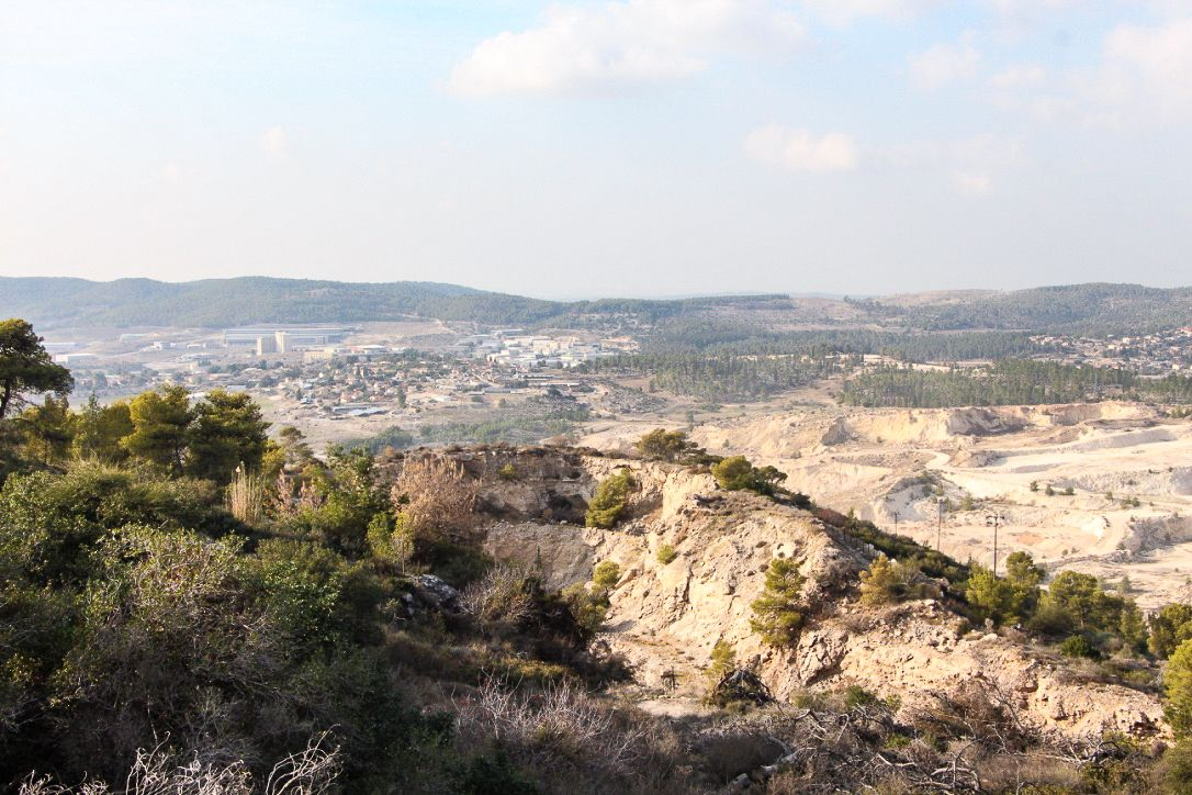 A view of the Bet Shemesh quarry in the hills below the Soreq cave.