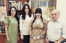 From left to right: sisters Elly Sapper, Nechama Meyer and Dassi Erlich with Jewish Agency Chairman Natan Sharansky in Jerusalem on October 27 2017