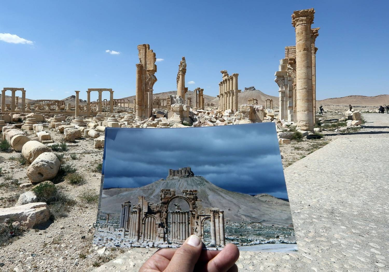 Palmyra's Arc of Triumph, in a picture taken on March 2014, and on March 31, 2016