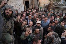Bachar al-Assad auprès de troupes du régime dans la Ghouta