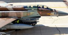 An Israeli F-16 prepares for take-off during the 'Blue Flag' exercise on October 27, 2015