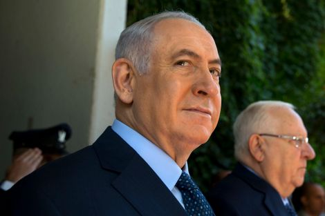 FILE - In this July 10, 2017 file photo, Israeli Prime Minister, Benjamin Netanyahu, left, stands with Israel's President Reuven Rivlin, at the President's residence in Jerusalem.
