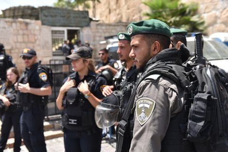 Heightened security around the Temple Mount compound in Jerusalem's Old City July 28, 2017