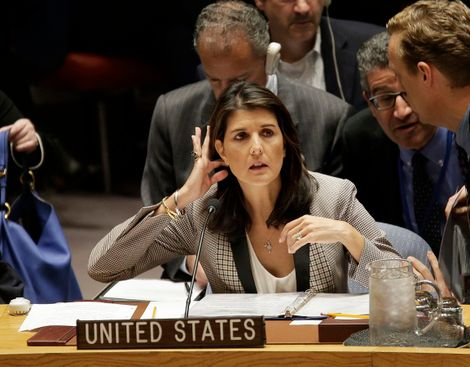 FILE - In this Monday, Nov. 26, 2018, file photo, United States Ambassador to the United Nations Nikki Haley arrives for a security council meeting at United Nations headquarters.