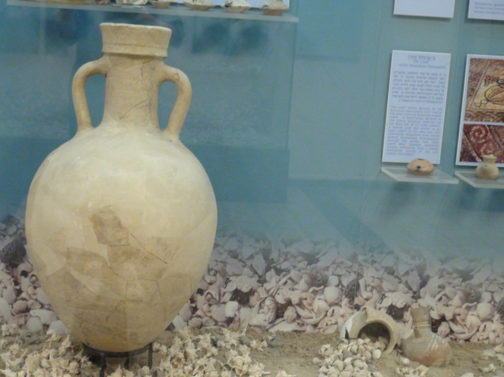 Classical period pottery on display at Sonia and Marco Nadler Institute of Archeology
