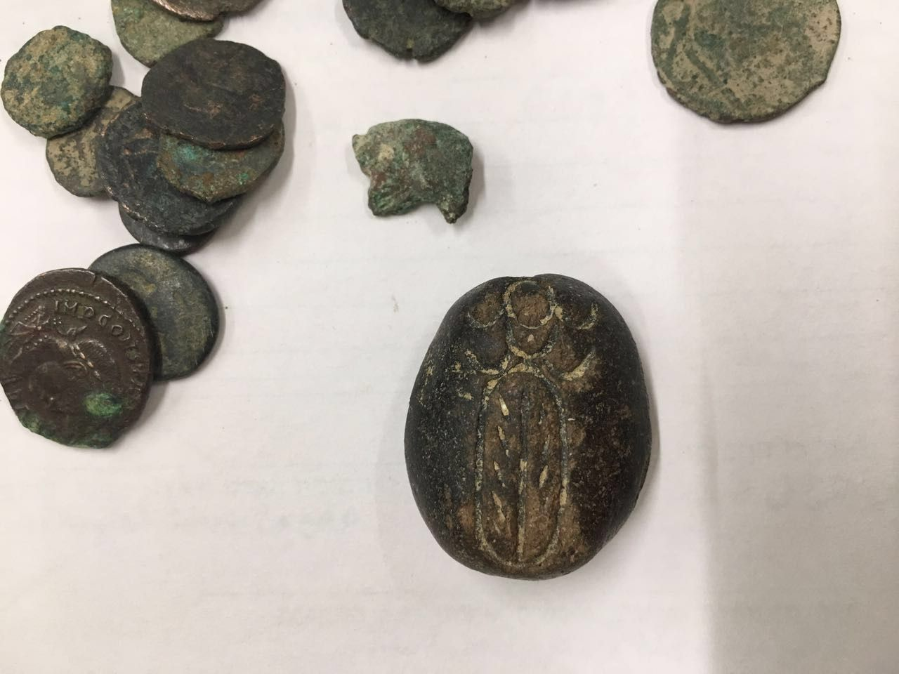 Detail of some of the 53 coins a West bank resident tried to smuggle into Israel from Jordan