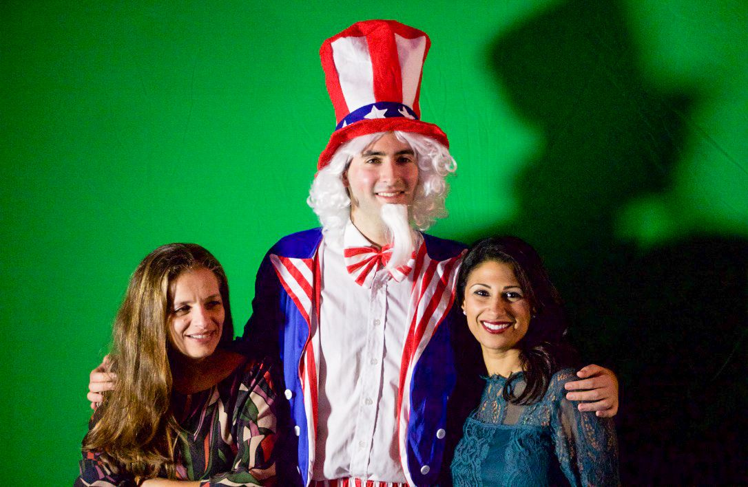 Uncle Sam poses with guests at the US embassy election party in Tel Aviv on November 8, 2016