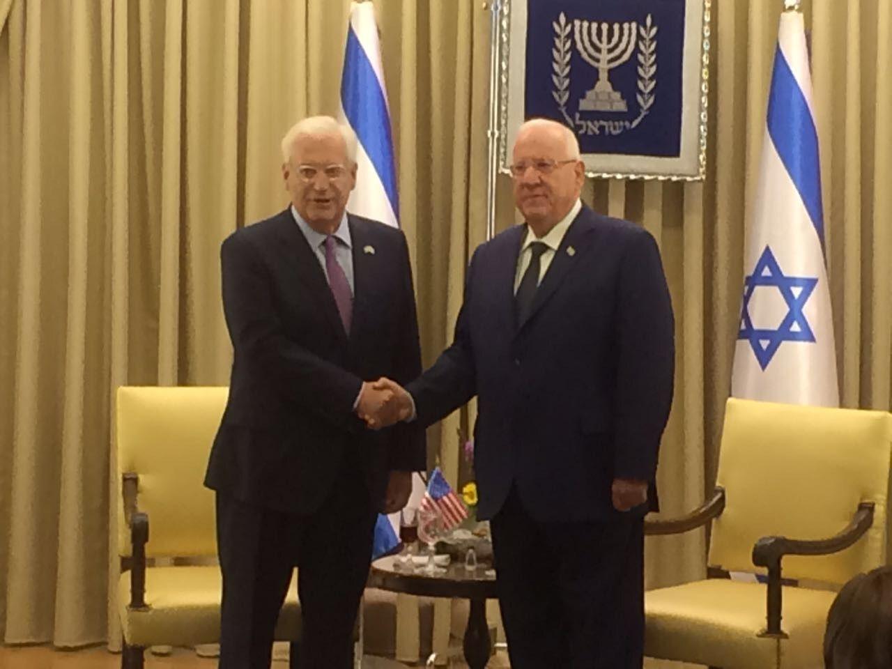 United States envoy David Friedman presents credentials to Israeli President Reuven Rivlin