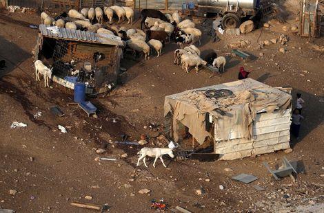 The Palestinian Bedouin village of Khan al-Ahmar in the West Bank on September 13, 2018