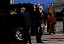 U.S. Vice President Mike Pence disembarks the plane upon his arrival at Amman military airport, Jordan, Saturday, Jan 20, 2018. This is the second leg of his Middle East tour that will include Israel.