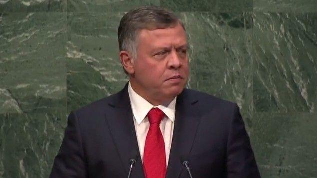 Le roi Abdallah II de Jordanie devant l'Assemblée générale de l'ONU à New York le 28 septembre 2015